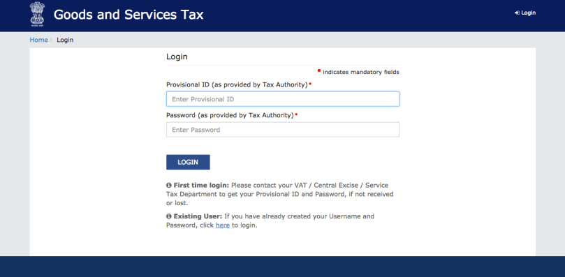 GST Registration Login